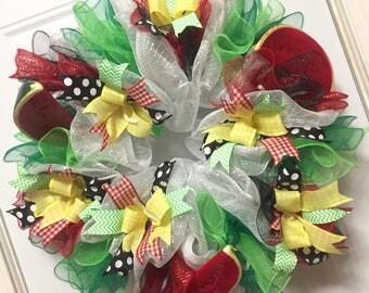 Summer Wreath, Watermelon Themed Party Supplies, Backyard BBQ Decor, Pool Party Hostess Gift Idea, Summertime Decoration, Door Hanger