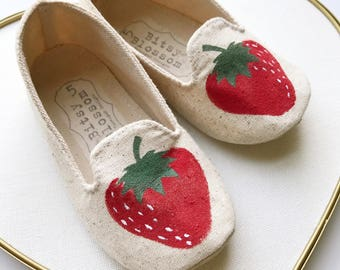 Vintage Inspired Hand Painted Strawberry Baby Shoes, Infant Shoes, Soft Sole Shoes, Baby Girl Shoes, Toddler Shoes, Summer Shoes- Ameriberri
