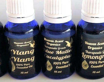 15ml therapeutic grade essential oils 100% pure organic cobalt bottle gold label