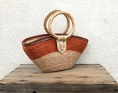 Basket Bag Small Top Handle Straw Summer Ethnic Raffia Woven Boho Hippy Bohemian Hippie Hipster Ring Top Purse