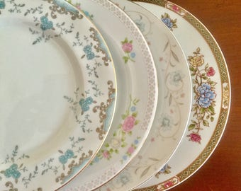 4 Mismatched Vintage China Weddings Dinner Plates Bridal/Tea Party D1021