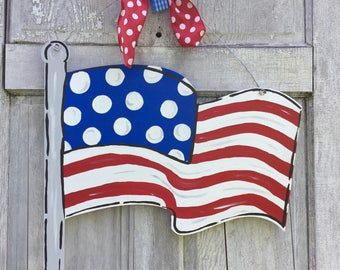 American Flag door hanger, USA sign, american door hanger, 4th of July door hanger, Patriotic Door Hanger, flag sign, july 4th decor, summer