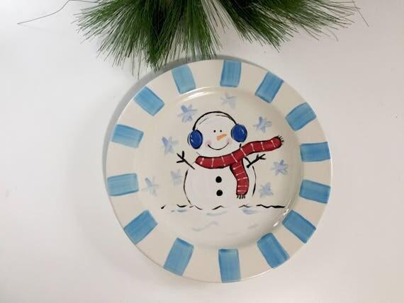 Hand painted Christmas Snowman Platter, Christmas cookie plate, Snowman platter, Christmas platter, Hand painted, winter snowman platter