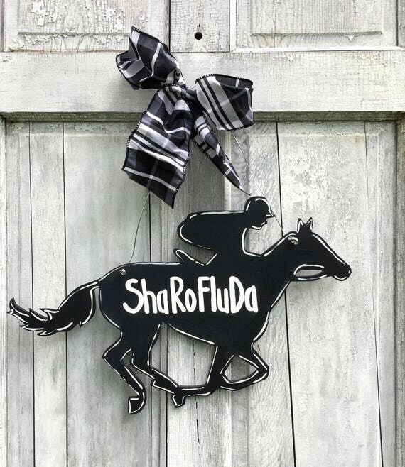 Kentucky Derby party, Kentucky Derby door hanger, Race horse door hanger, Derby door hanger, Horse racing sign, Horse and Jockey sign