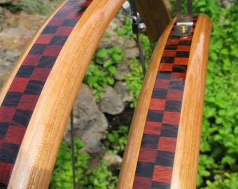 Wood Bike Fenders- Woody's Compound Curve Blood wood & Wenge Checkerboard fenders.  Mud guards, recycle, bike, bike add on, commuter bike