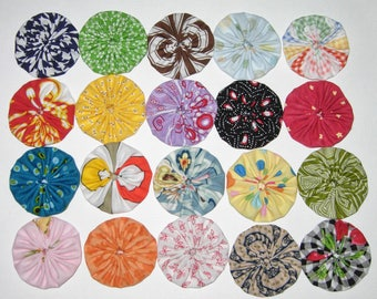 """Fabric YoYos, 20 Multi Colors, 2"""" Size, Crafting, Embellilshments, Appliques"""