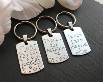 Budget Friendly Teacher Gift - Teacher appreciation - Teacher Thank you - End of year Teacher Gift - Hand Stamped Keyring