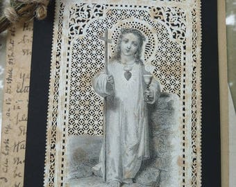 Antique Victorian French Lace Holy Card, The Child Christ, offered by RusticGypsyCreations