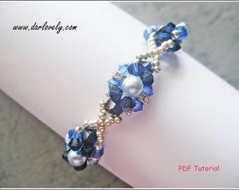 Beaded Bracelet Pattern Tutorial - Blue Pearl Metal Rondelle Bracelet (BB162) - Beading Jewelry PDF Tutorial (Digital Download)