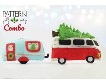 Christmas Decoration Pattern, Camper Caravan Christmas Ornament, VW Combi , Felt Christmas Ornament Pattern, VW Camper Decor