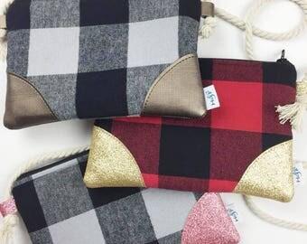 NEW PLAID child purse wallet wristlet modern clutch flannel sparkle gold kids buffalo red grey gray pink
