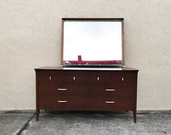 Mid-Century Modern Drexel Profile Dresser and Mirror