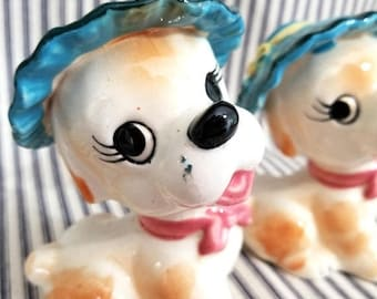Yearly Big Sale: Vintage Kitschy Cute Dogs in Hats Figurines, Ceramic Puppy Figures, Dog Statue Made in Japan