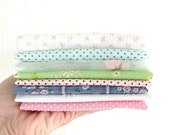 Vintage Flocked Fabric Bundle / Lot of 8 / Dotted Swiss / Quilting Fabric