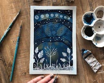 Celestial Watercolor // original painting // Sanctuary of Forgotten Starlight