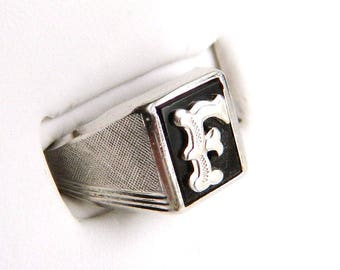 Vintage Art Deco Sterling Silver Onyx Signet Initial Ring -  Letters F - Size 8 1/4 - Signed VARGAS