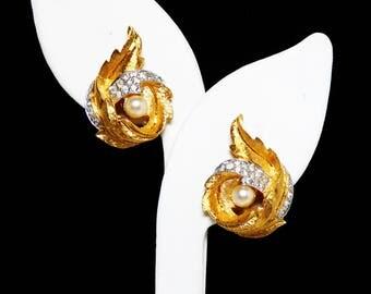 Jomaz Clear Rhinestone Round Leaf Earrings - Brushed Gold Tone Clip on Earrings -  Vintage 1950's 1960's Designer Signed Joseph Mazer Design