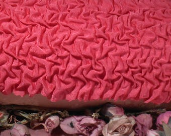 Vintage  Fabric Ruched Bright Pink Remnant