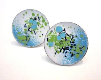Vintage Blue White Screw Back Earrings Splatter Round Boho Earrings Jewelry Gift Under 10