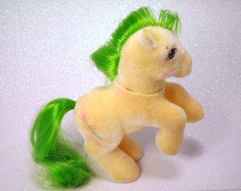 LAST Chance Sale My Little Pony G1 MLP So Soft Ponies Magic Star SS Yellow and Green Plastic Toy Horse 80s original Fluffy POnies