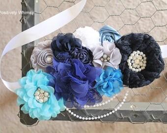 Blue Maternity Sash, Boy Maternity Sash, Maternity Sash, Flower Sash, Belly Sash, Royal Blue, Baby Blue, Navy, Turquoise, White, Gray, RTS
