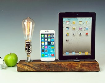 Double docking station with lamp for iPhone 7, 7+, or ANY iPhone, Live edge walnut wood, Edison bulb dock lamp for iPhone and iPad. #772 USA