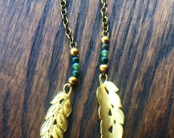 Brass Olive Branch and Agate Earrings