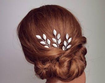 Silver Leaf Hair Vine, Silver Leaf Hair Comb, Silver Hair Vine, Leaf Bridal Comb, Bridal Hair Piece, Wedding Hairpiece, Leaf Hair Pins