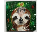 Original sloth painting mixed media art painting on wood canvas 6x6 inches - A cheerful disposition