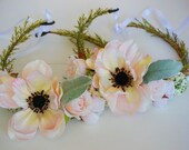 Listing for 2 Identical Flower Crowns, Pink Flower Crown, Boho Wedding, Boho, Floral Crown, Flower Head Piece, Flower Hair Accessory,