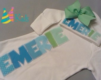 Personalized baby girl clothes, take home outfit girl, baby gown, newborn coming home outfits