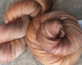 Softly Copper -  Hand Dyed Merino Silk Lace Yarn
