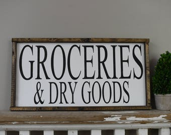 Groceries and Dry Goods Distressed Framed Wood Sign