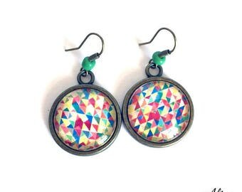 Earrings cabochon round * geometric colorful *.