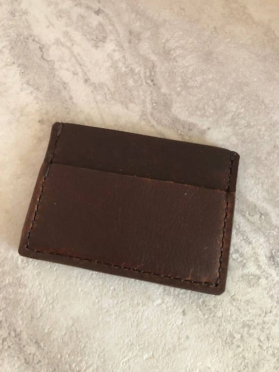 Handmade Brown Leather Card Holder with Bill Pocket