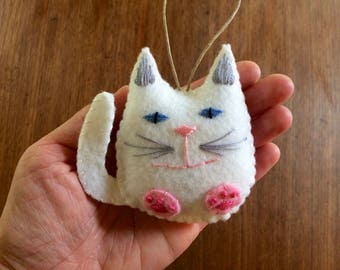 Personalized Cat Christmas Ornament, Felt Christmas Ornament, White Cat Holiday Ornament, Girls Christmas Ornament