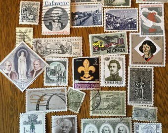 25 Worldwide GRAY Used Postage Stamps for paper crafting, collage, cards, scrapbooking, scrapbooks, decoupage, stamp collecting 1d