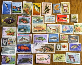 35 Fish, sealife, ocean marine life, tropical fish vintage Postage Stamps paper crafting collecting collage cards scrapbooks 8d