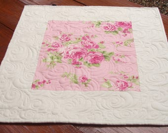 Quilted Table Topper, Shabby Chic Quilt, Pink Roses Table Topper, Quilted Table Runner, Square Table Topper, Table Decor, Free USA Shipping