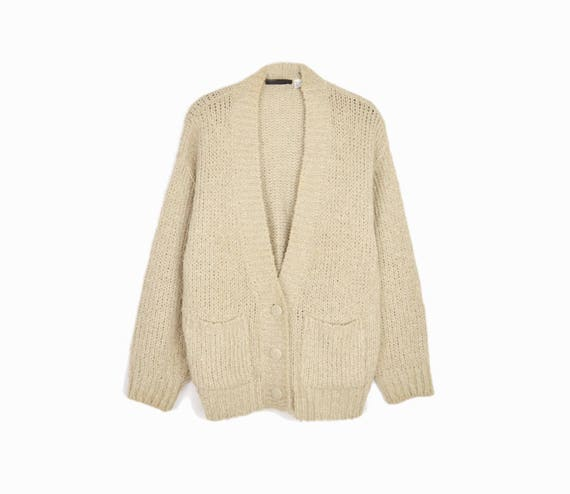 Vintage Boucle Duster Cardigan in Almond Tan / Cozy Sweater- women's large