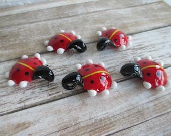 LADYBUG LADY BUG - lot of 5 Pendants -  Jumbo Glass Lampwork Focal Bead Wholesale