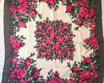 stunning rose floral scarf pink gray green silk 34 inch square flower print head scarf shawl