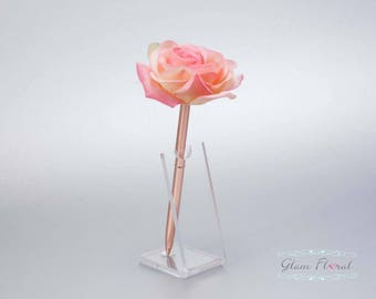 Confetti Coral Rose Guestbook Pen. Rose Gold Wedding Pen Set, Wedding Pen Holder, Real Touch Rose Flowers. peach, pink. Tea Rose Collection