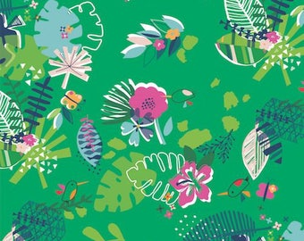 Dashwood Studio - Club Tropicana - Jungle on Green - Cotton Fabric (Quilting/Dressmaking)