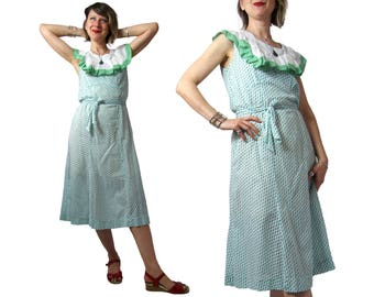 Early 1930s White With Green Diamonds Cotton Day Dress