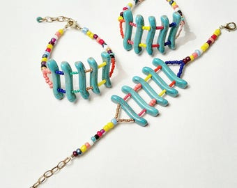 Colorful turquoise ladder bracelets