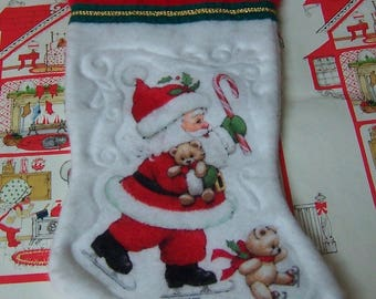 fleece morehead santa with bears stocking