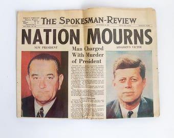 Original President Kennedy Assassination Newspaper - 11-23-1963 - Spokane, WA Spokesman-Review