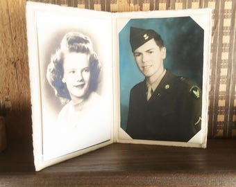 World War II Soldier and Sweetheart Photos, U.S. Army Air Corps Private and Girlfriend, Wife  - Sepia and Color Tinted Photo