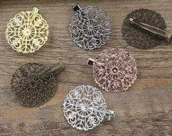 10 Brass Alligator Hair Clips W/ 31mm Filigree Flower Antique Bronze/ Silver/ Gold/ Rose Gold/ White Gold/ Gun-Metal Plated- Z6204